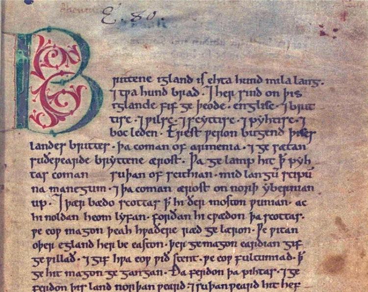 Detalle de una Página de la crónica anglosajona